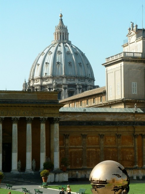 A view of St. Peter's Basilica dome from inside the Vatican Gardens