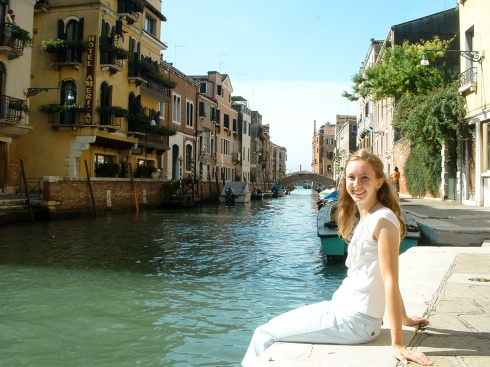 Dipping my toes in one of the channels in Venice. . . . ah, to be back in Italy!